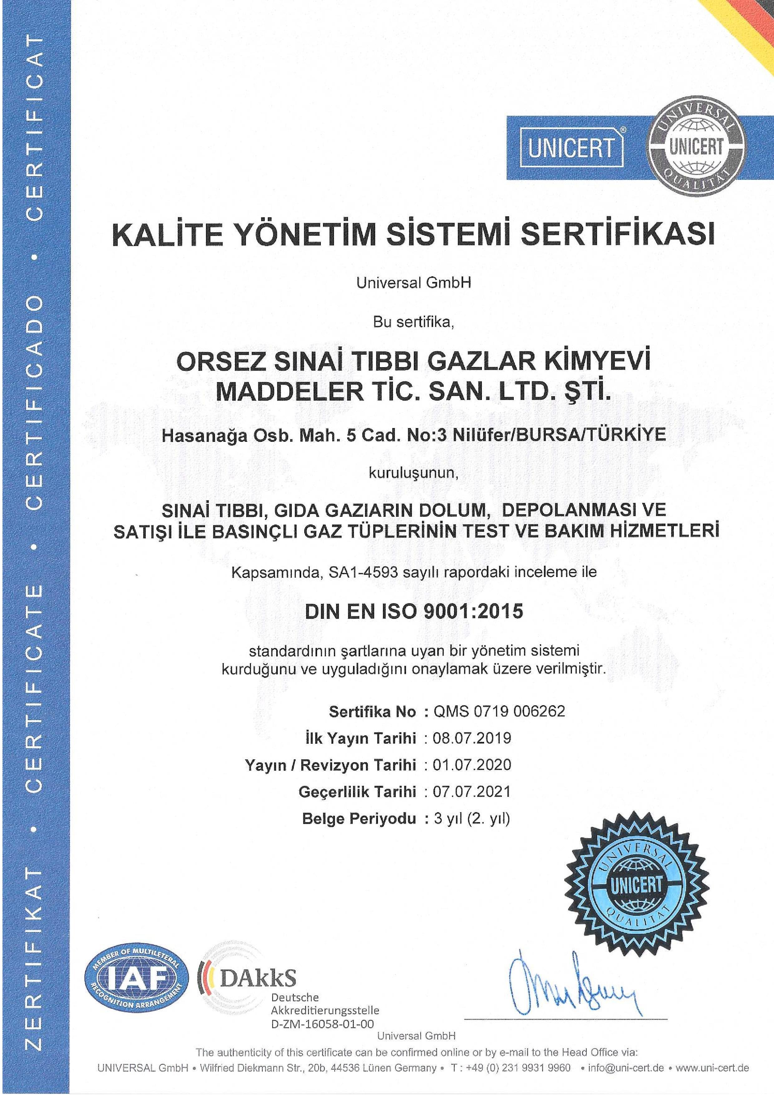 Orsez Sinai Tıbbi Gazlar Ltd. Şti.
